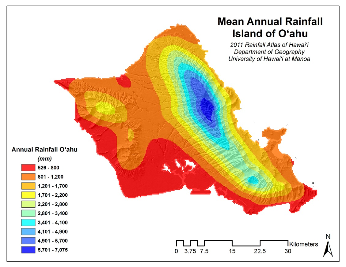 Rainfall Atlas Of Hawaii History - Annual precipitation map us